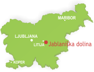 Zemljevid Slovenije z Jablaniško dolino